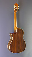 Alhambra crossover electro acoustic classical guitar, cedar, rosewood, cutaway, pickup, neck width 48 mm, back view