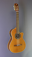 Alhambra, crossover electro acoustic classical guitar, cedar, rosewood, cutaway, pickup, neck width 48 mm