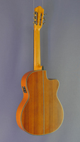 Angel Lopez, left-handed electro acoustic classical guitar cedar, mahogany, cutaway, pickup, back side