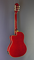 Beaver Creek, red classical guitar with pickup, solid spruce top, cutaway, back view