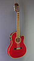 red classical guitar with pickup, solid spruce top, cutaway