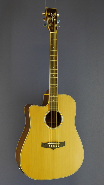 Richwood Linkshänder Westerngitarre, Dreadnought, Zeder, Mahagoni, Cutaway, Pickup