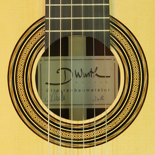 Rosette and label of Dominik Wurth luthier guitar spruce, rosewood, scale 64 cm, year 2016