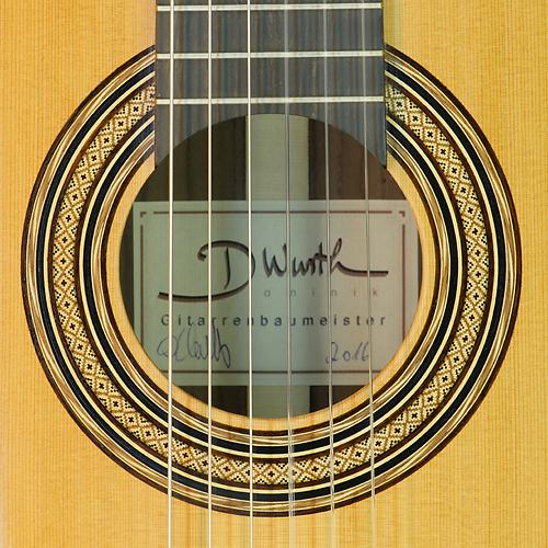 Rosette and label of Dominik Wurth luthier guitar cedar, rosewood, scale 64 cm, year 2016