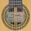 Rosette and label of Dominik Wurth luthier guitar cedar, rosewood, scale 65 cm, year 2017