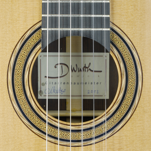 rosette and label of Dominik Wurth classical guitar cedar, rosewood, year 2013