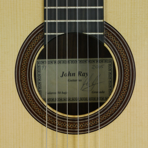 rosette and label of John Ray classical guitar spruce, rosewood, scale 64 cm, year 2005