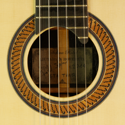 rosette and label of Stefano Robol classical guitar spruce, rosewood, year 2014
