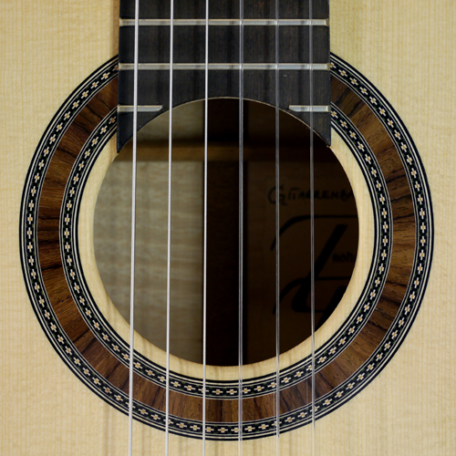 rosette and label of Thomas Friedrich classical guitar spruce, maple, 2013