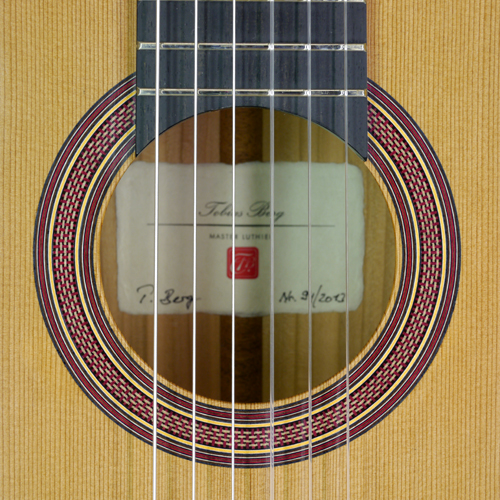 rosette and label of Tobias Berg Luthier guitar, cedar, cherrywood, 2013
