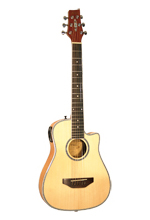 Kirkland Traveller Guitar with pickup, cutaway, natural, scale 59 cm