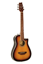 Kirkland Traveller Guitar with pickup, cutaway, sunburst, scale 59 cm
