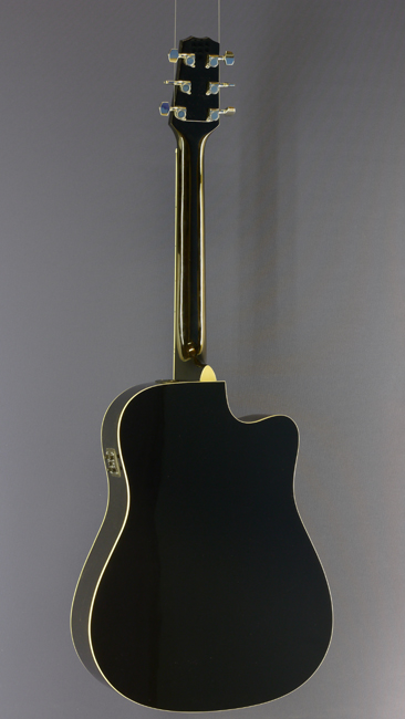 Billy Ray Linkshänder Westerngitarre, Dreadnought, schwarz, Cutaway, Pickup, Rückansicht