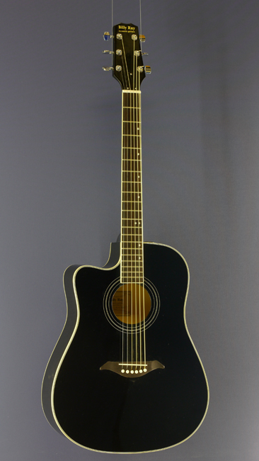 Billy Ray Linkshänder Westerngitarre, Dreadnought, schwarz, Cutaway, Pickup