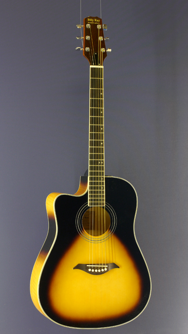 Billy Ray Linkshänder Westerngitarre, Dreadnought, sunburst, Cutaway, Pickup