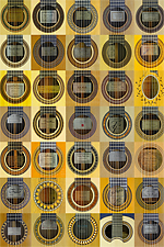Rosettes and labels of guitar makers and luthier guitars